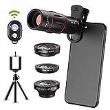 6 en 1 Kit de lentes de cámara para teléfonos Smartphone Teleobjetivo 18X, lente gran angular, macro, ojo de pez, trípode, obturador remoto para iPhone Samsung y la mayoría de teléfonos inteligentes