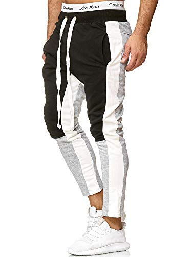 OneRedox Herren | Jogginghose | Trainingshose | Sport Fitness | Gym | Training | Slim Fit | Sweatpants Streifen | Jogging-Hose | Stripe Pants | Modell A10 (XL, Grau)