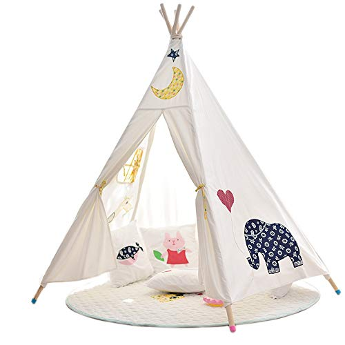 Kids Play Tent Children's Canvas Tent Play House Cartoon Toy House Indoor and Outdoor Kids Toys Foldable Play Tent Kids Foldable Play Tent for Indoor Outdoor ( Color : White , Size : 110x110x155cm )