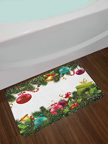 Bath Rugs and Mats,Snowy Winter Xmas Time Happy New Year Greeting Presents Bells Leaves Garland Non-Slip Absorbent Bathroom Kitchen Runner Floor Mat Carpet 29.5' X 17.5'