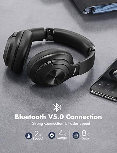 Mpow H21 Hybrid Noise Cancelling Headphones, 65H Playtime Wireless Headphones w/Built-in Mic, Bluetooth 5.0, HD Stereo Sound, Wired/Wireless Headset for Travel, Online Class, Home Office, TV 2