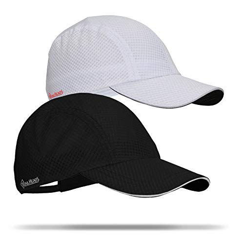 TrailHeads Race Day Performance Running Hat | The Lightweight, Quick Dry, Sport Cap for Women - 9 Colors (White & Black 2-Pack)