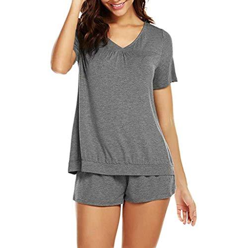 Proumy Pijama Gris Básica Mujer Verano Camiseta Sólida con Calzoncillos Blusa Talla Grande Conjunto de Camisa Transpirable Dos Piezas de Batas Largas Ropa de Dormir Cómoda con Manga Corta