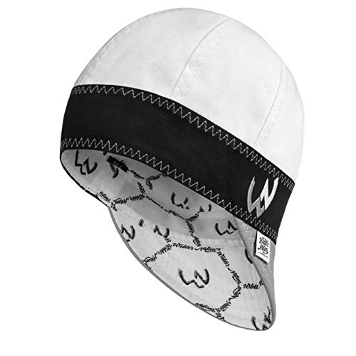 Welder Nation – 8 Panel Welding Cap, Durable, Soft 10 oz Cotton Duck Canvas, for Safety and Protection While Welding. Stick ARC (7 1/4, White, Black)