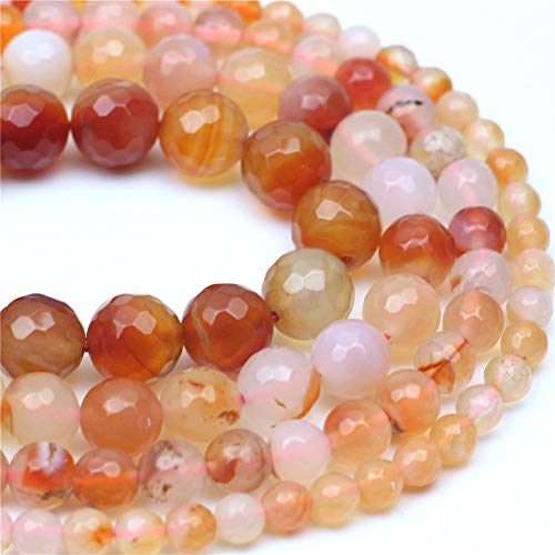 Oameusa 8mm Red-Orange Agate Faceted Beads Round Beads Gemstone Beads Loose Beads Agate Beads for Jewelry Making 15