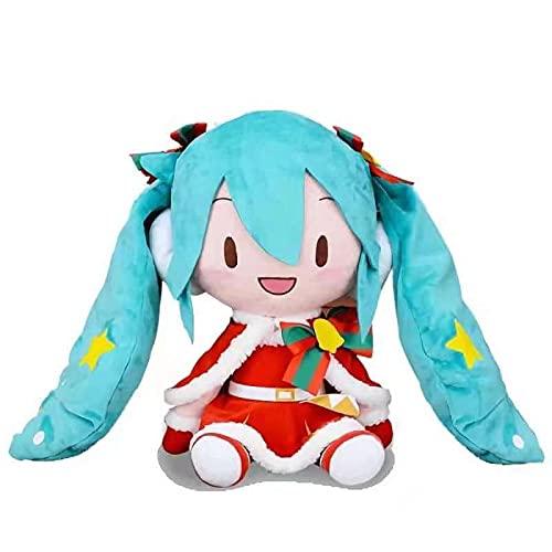 SDSG Anime Hatsune Miku Weihnachten Fufu Miku Plüschpuppe 27Cm, Gefüllte Weiche Kuscheltier Miku Kissen Für Kinder Mädchen Geburtstag Weihnachten Miku Fans Geschenk