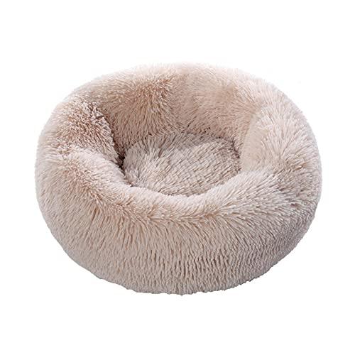 Alfombra de perro suave de felpa larga para perrera, cojín redondo, portátil, suministros para dormir, gatos, cama cálida, 60 cm