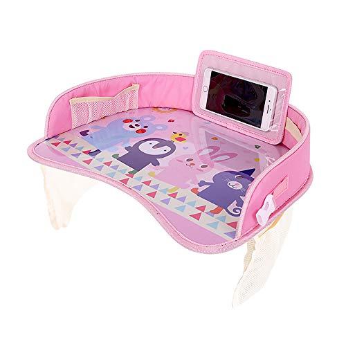 Generic Bandeja de viaje portátil para asiento de coche con soporte para tablet y organizador de malla lateral, para mantener a los niños entretenidos, color rosa