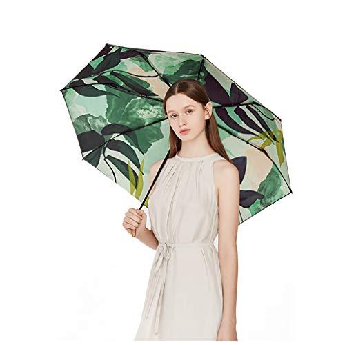 Sonnenschirm Sonnenschutz kleiner schwarzer Regenschirm Faltbarer Regenschirm weiblicher Anti-UV Zweischichtiges Regenschirmtuch, 99% UV-neues Produkt steht zum Verkauf (Color : Plant)
