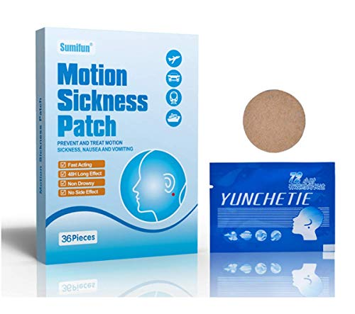 36 Motion Sickness Patches, Motion Sickness and Seasickness Patches for Travel Sickness, Anti-Nausea, Vomiting and Dizziness