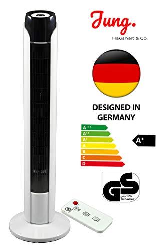 JUNG TV08 Ventilator mit Fernbedienung + Timer 90cm groß, STROMSPAREND EEK A+, Turmventilator mit Schlafmodus, Turmlüfter 45W Leistung, 75° Oszillation bis 50qm