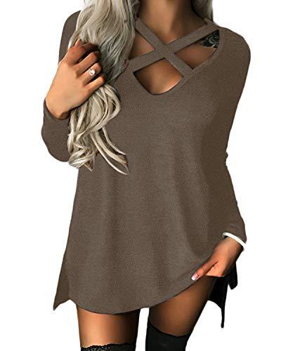 Yoins Jersey para mujer de manga larga y hombros descubiertos con cuello de pico, sexy, para otoño A-marrón. S