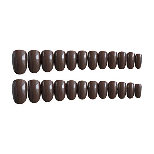 CLOAAE 24 pieces/sets of light color round false nails solid color full coverage pressed nail acrylic and DIY