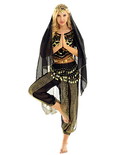 winying 4Pcs Robe Danse du Ventre Indienne Femmes Ensemble Danse Latin Samba Salsa Top Paillette Costume Carnaval Fete Déguisements Princesse Inde Dansewear Noir Taille Unique