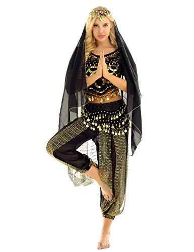 MSemis Damen Bauchtanz Kostüm Set Pailletten Tanzkleidung Indische Tanz Performance-Kleidung 4tlg. Sets Oberteil + Haremshose + Hüfttuch + Kopftuch Schwarz Einheitsgröße