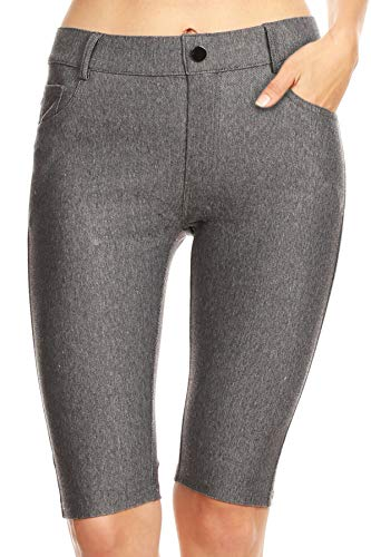 ICONOFLASH Women's Cotton 5 Pocket Bermuda Shorts No Muffin Top Pull On Knee Length Jeggings Gray Size Medium