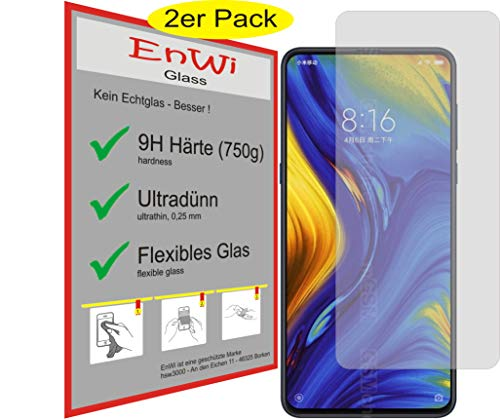 EnWi | 2X Panzer-Glas-Folie 9H Bildschirm-Schutz-Folie für Xiaomi Mi Mix 3