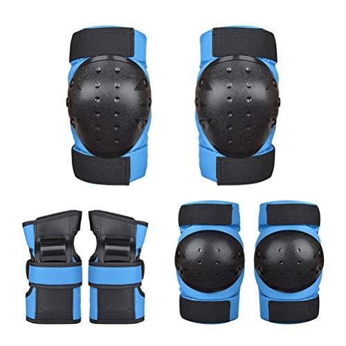 YsaAsaa Juego de 6 rodilleras para adultos y niños, juego de equipo de protección, almohadillas protectoras para patinaje, equitación, scooter y balancear la rueda deslizante