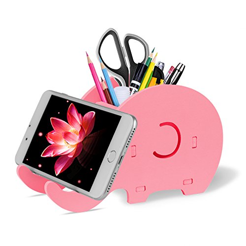 COOLOO Desk Supplies Organizer, Cute Elephant Pen Pot Pencil Holder with Cell Phone Stand Tablet Desk Bracket Compatible iPad iPhone Smartphone, Office Desk Tidy Stationery Organizer Box