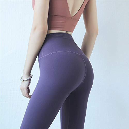 Nouvelles Femmes Leggings 6 Couleurs Mode Haute Élasticité Décontracté Taille Haute Solide Respirant Leggings De Gym pour Fitness M Darkpurple