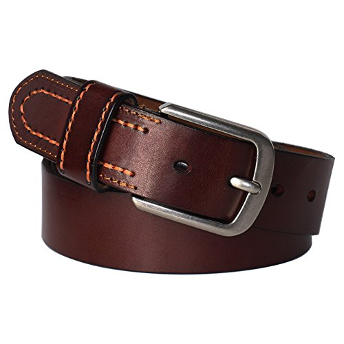 PAZARO Men's 100% Full Grain Leather Belt 3.8cm Wide