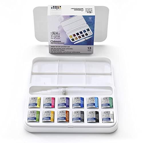 Oferta de Winsor & Newton acuarela Cotman - Set de acuarela con pincel rellenable, 12 medio godets, colores surtidos