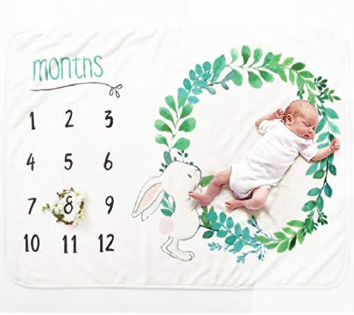 VIVILINEN Bebé Manta Mensual Hito Franela como Fondo Fotográfico para Bebé Recién Nacido con Diferentes Dibujos Regalos para Mamas Embarazadas Baby y Registros de Crecimiento Mensual