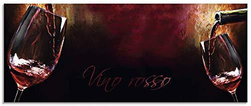 Artland Glasbilder Wandbild Glas Bild einteilig 125x50 cm Querformat Rotwein Lounge Bar Restaurant Italien Wein Kunst Malerei T5PV