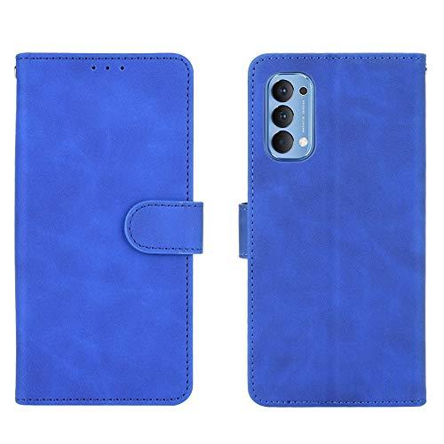 GOGME Leder Hülle für Oppo Reno 4 5G(Reno4 5G) Hülle, Premium PU/TPU Leder Folio Hülle Schutzhülle Handyhülle, Flip Hülle Klapphülle Lederhülle mit Standfunktion und Kartensteckplätzen, Blau