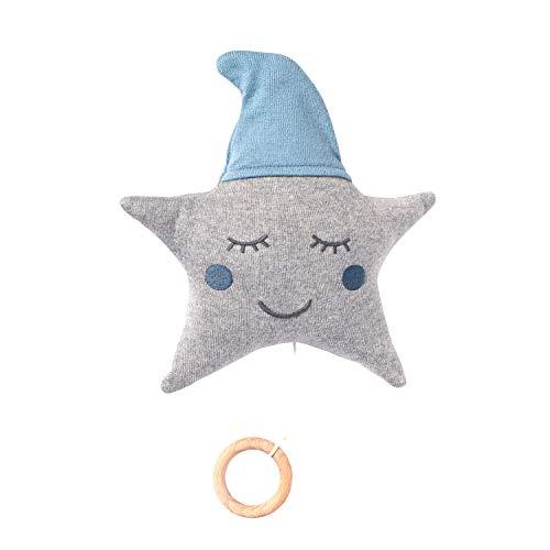 nordic coast Spieluhr Baby Junge Stern Blau Grau   Spieluhr blauer Stern   Ideal als Baby-Spieluhr, Aufziehspieluhr für Kinderwagen & Kinderbett