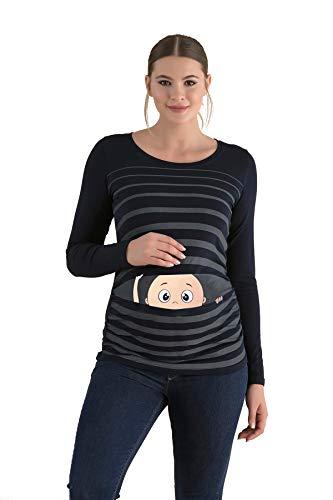 Witzige süße Umstandsmode T-Shirt mit Motiv Schwangerschaft Geschenk - Langarm (Medium, Schwarz)