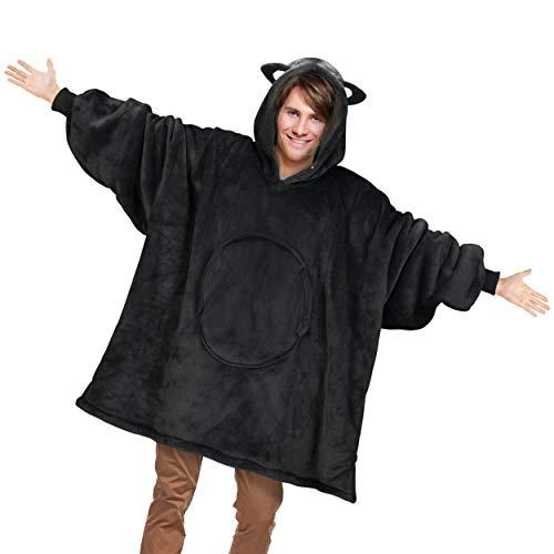 Catalonia 着る毛布 ポンチョ かわいい 猫耳フード付き もこもこ パーカー 冬 ガウン 可愛い 着ぐるみ 着るブランケット 防寒 ガウン 部屋着 ルームウェア レディース メンズ Sサイズ(着丈84cm)猫