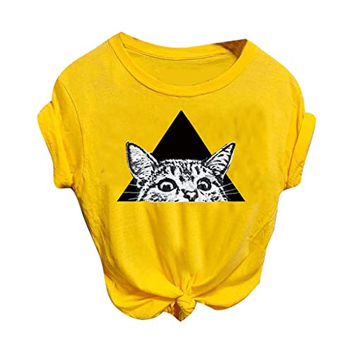 Kledbying T-Shirt Women's Letters Print Short Sleeve Casual Tops Tees Cute Cat Print Shirts Sports Tee Yellow