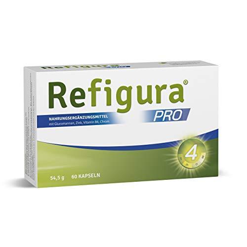 Refigura Pro: Gesundes Abnehmen, mit Glucomannan, Zink, Vitamin B6 und Chrom, pflanzlich, vegan, Kapseln, 60 Stk.