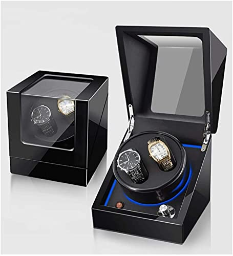 HaoLin Bobinadoras de Relojes de Lujo,Luz de Atmósfera Led,Japonés Ultra Silencioso,Reloj de Motor,Pintura de Piano,Antimagnético,para 2 Relojes,C-2+0