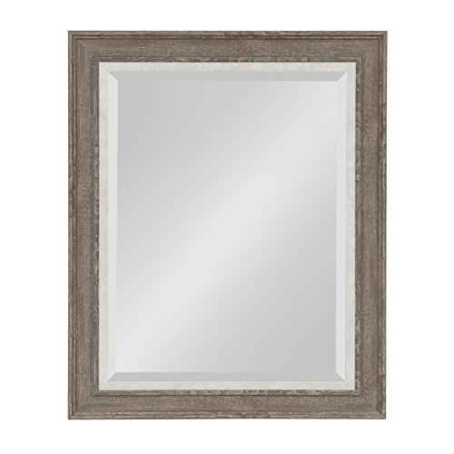 Kate and Laurel Woodway Large Framed Wall Mirror, 23.5x29.5 Inches, Rustic -
