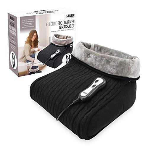 Bauer 2in 1Soft Fußwärmer und Massagegerät mit variabler Control Einheit mit Strickbezug, schwarz