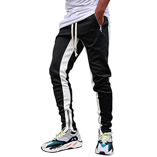 VANVENE - Pantaloni da ginnastica da uomo in pile, vestibilità aderente, pantaloni da corsa Bianco 2 L