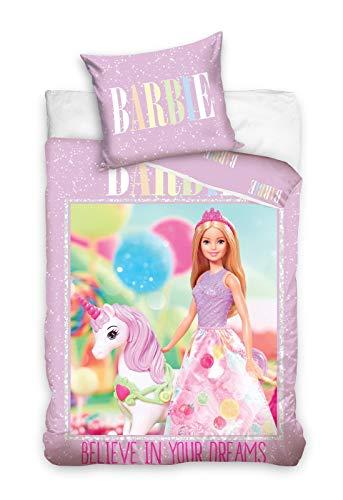 Carbotex Barbie & Unicornio - Juego de cama (algodón, 160 x 200...