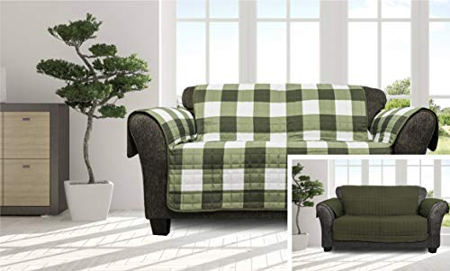 Quick Fit - The Original Plaid Gingham Checkered Reversible Water Resistant Furniture Cover for Dogs, Kids, Pets Sofa Slipcover for Couch, Recliner, Loveseat or Chair (Loveseat: Sage Green)