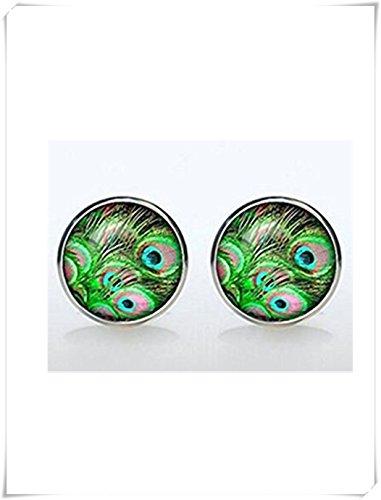 Cufflinks-wedding boutons de manchette plaqué argent paon Accessoires pour hommes et femmes bijoux Turqouise