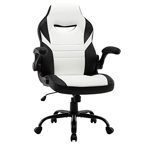STARSPACE Flip-Up Arms Office Gaming Chair, Ergonomic Swivel Computer Racing Game Chair Adjustable Desk Task Chair (White)