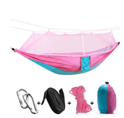 Hamac de Camping/Jardin avec moustiquaire Mobilier d'extérieur 1-2 Personne Portable Lit Suspendu Force Parachute Tissu Sleep Swing Rose Bleu