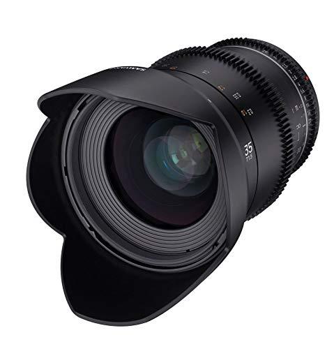 Samyang MF 35mm T1,5 VDSLR MK2 Canon EF – lichtstarkes T1,5 Weitwinkel Cine- und Video Objektiv für Canon EF Mount, 35 mm Festbrennweite, Follow Focus Zahnkränze Vollformat und APS-C, 8K Auflösung