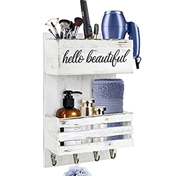 Hair Tool Organizer Wall Mount Rustic White Hair Dryer Holder Hair Care and Styling Tool Organizer Bathroom Vanity Organizer for Wall Beauty Hair Appliance Holder with Shelf for Makeup Toiletries