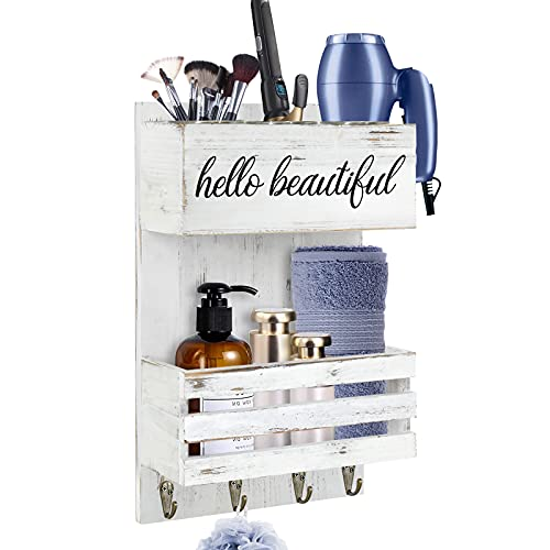 Hair Tool Organizer Wall Mount, Rustic White Hair Dryer Holder Hair Care and Styling Tool Organizer, Bathroom Vanity Organizer for Wall, Beauty Hair Appliance Holder with Shelf for Makeup, Toiletries