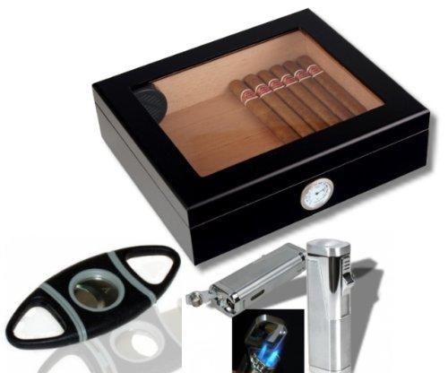 Humidorset Black-Editon Sichtfenster Polymerbefeuchter Set inkl. Lifestyle-Ambiente Tastingbogen