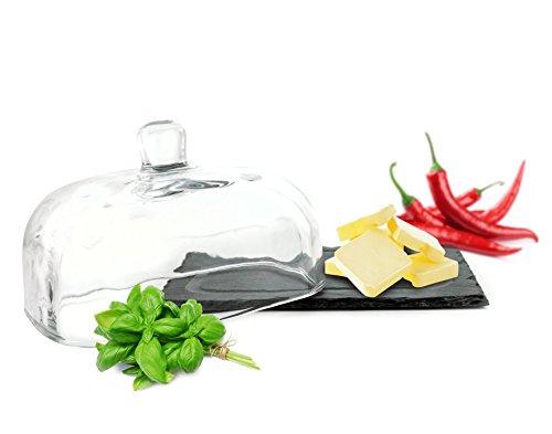 Sendez Butterdose auf Schieferplatte Butterglocke Butterschale Kühlschrankbutterdose