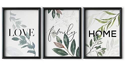Set de 3 Láminas Decorativas de 30 x 42 cm (A3) para Enmarcar Cuadros, Decoración Moderna para Pared de Dormitorio y Salón, Lienzo de Poliéster sin Marco, Love Home Family, LAL-005
