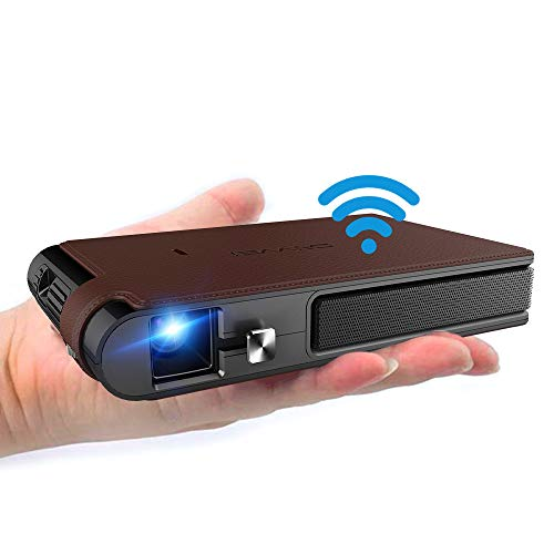 Mini Projector, WiFi Video DLP Projector 1080P Supported Portable Projector, Built-in Battery and Speakers Compatible with iPhone, Android, Laptop
